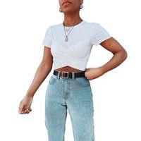 Womens Designer T-shirt blanc Tops de cultures Conçu Bandage court T été haute couture T-shirts