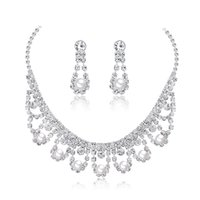 두 조각 신부 보석 세트 패션 기질 신부 모조 다이아몬드 목걸이 목걸이 귀걸이 두 조각 spot11