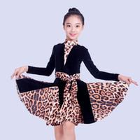 Сцена носить девушки латинское танцевальное платье с длинным рукавом черная леопардовая практика одежда соревновательные платья детей Rumba / Tango Costume DQL1325