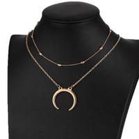 Chokers Frauen Mond Perlen Choker Halsketten Gold Multi Layer Halskette Layered Modeschmuck Zubehör Elegante Schlüsselbeinkette