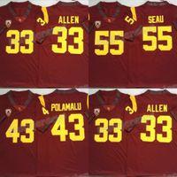 NCAA 2020 USC Trojans Vermelho Jersey 43 Troy Polamalu 55 Junior Seau 33 Marcus Allen College Football jede