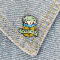 Interovert Green Hair Blue scarf Boy Pin Badges Reddish cheek Timid eyes Enamel Brooch Expression personality Jewelry