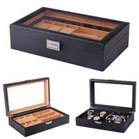 Lusso 6 + 3 slot a mano in fibra di carbonio di vigilanza di cassa per orologi Orologio Box Tempo organizzatore