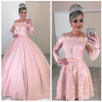 Por encargo del vestido de bola rosado del vestido de quinceañera con Longitud desmontable de tren piso dulce 16 niñas prom mangas largas vestido del desfile