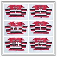 Özel ChL Ottawa 67s Jersey Hokey 1 Petr Mrazek 17 Travis Konecny 89 Logan Couture 7 Potvin Wilson Dikişli OHL CCM Hokey Formaları Kırmızı