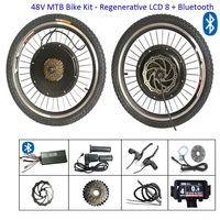 Kit de conversion de vélo électrique de 20 pouces E électrique 48V 1000W Hub de vélo Moteur avant de la roue arrière de la roue arrière Kits avec écran LCD régénératif Bluetooth