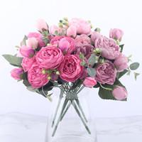 30 cm rosa rosa peonía de seda artificial flores decorativas ramo 5 gran cabeza y 4 flores falsas de capar para casa decoración de la boda decoración de escritorio interior