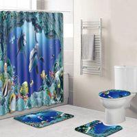 4 pcs conjunto acessórios de banheiro antiderrapante pedestal tapete + tampa tampa de banheiro + tapete de banho + chuveiro cortina decoração do banheiro 8 tipos