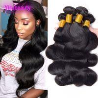9A Extensiones de cabello humano brasileño 10 piezas / lote al por mayor 10 paquetes onda corporal 8-28 pulgadas de color natural Tejidos de cabello 10 piezas / lote