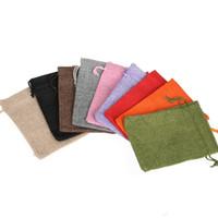 Boş Hediye Çanta Pamuk Keten İpli Çanta Monogrammable Takı sarar Craft Düğün Favor 14 Renkler 7 * 9cm Toptan LQP-YW3112