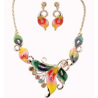 Farfalla collana orecchino set in lega oro colorato fiore design gioielli gioielli orecchino pendente chocker chocker collana per ragazze donne regalo