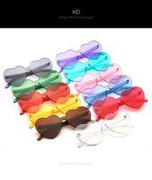 جديد أزياء حلوى نظارات القلب النساء نظارات شفافة جيلي اللون سيدة نظارات سيامي واحد عدسة النظارات حملق oculos uv400 2817