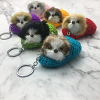 Lovely Plush Dog Keychain Animal Model Keyring Woolen Yarn S...