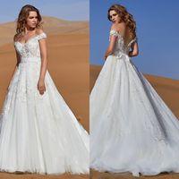 CocoMelody 2019 robes de mariée épaule dentelle Appliques robes de mariée bohème dos nu balayage train une robe de mariée une ligne robe de mariée