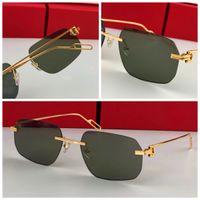 Мужчины Роскошная ВС Очки Открытый Модные солнцезащитные очки Zonnebril Мужчины Vintage бескаркасных Polygon Малый каркас Современный дизайн Avant Garde