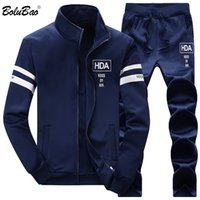 BOLUBAO Men Set Thicken Top+ Pants 2- piece Set 2019 Spring Au...