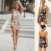 Trendy2019 Neck Sexy Dress Hanging Dew Back Waist Bind Form ...