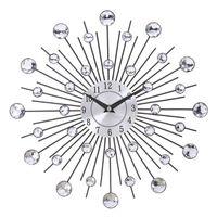Metal de la vendimia del resplandor solar de cristal del reloj de pared grande Morden relojes de pared del diseño de la vivienda decoración del arte 33cm de gran tamaño de la sala