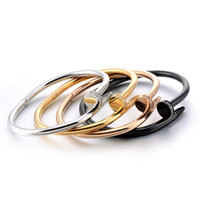 Nail bangle Rhinestone Titanium Stainless steel Gold for men...
