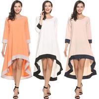 Kadın Maxi artı boyutu Gevşek Casual Düzensiz Dikiş Üç Çeyrek Sleeve Elbise