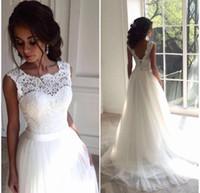 Solovedress Une ligne dentelle robe de mariée plage 2019 Scoop Neck blanc robe de mariée en tulle jupe chapelle train robe de noiva