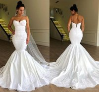 2019 Backless sexy abiti da sposa senza spalline abito da sposa Mermaid Lace Up Back Tulle Appliques del merletto Longue Robe de mariage