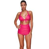 Bikinis Set Высокая талия Плянистый костюм Холтер Шеи нажимать Сексуальный бикини Алмазные напечатанные синие женщины купальники купальные костюмы