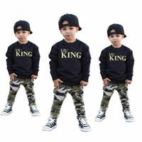 2pcs новорожденных Infant Baby Boy Дети с длинным рукавом письмо Печать Top Камуфляж печати Длинные брюки Повседневные Детская одежда Нижнее Sets