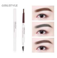 Girlstyle 5 cores Dual-final Fundação Lápis de sobrancelha maquiagem à prova d'água Brow Eye Pen escuro Castanho Cinza Preto