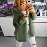 Nuevo suéter de las mujeres Chaqueta de punto ocasional de la capa de manga larga Cardigan sólido Tops suéter cubren para arriba de punto suéter de la capa vestido # 45 SH190912