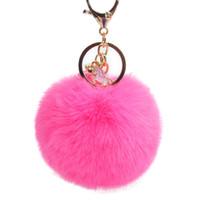 Брелок из искусственного меха кролика с помпонами Прекрасный стеклянный шарик Единорог брелки для женщин Брелок Сумка для девочек Подвески Брелок для ключей