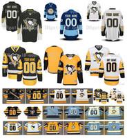 Homens personalizados Pittsburgh Penguins Camisas costuradas Costume qualquer nome qualquer número Vintage Gelo Hóquei Jersey Bordado Logos Tamanho S-XXXL
