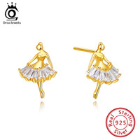 ORSA JEWELS Pure S925 Sterling Silver Ballet Dancer Stud Ear...