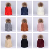 Winter Women Twist Knitted Hat Warm Pom Pom big Fur ball Wool Hat Ladies Skull Beanie Solid Crochet Ski Outdoor Caps LJJA2949