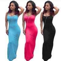 Solid Color Designer-Frauen kleidet Sleeveless reizvolle dünne beiläufige Scoop Neck Lange Kleider Mode Women Casual Kleider