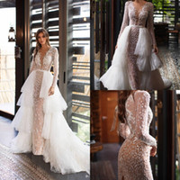 Vintage Mermaid Plus Size See Through Wedding Dresses With Detachable Train Bridal Dresses Sexy Long Sleeves Wedding Gowns