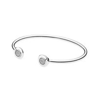 NEW 100% 925 Sterling Silver High Quality 590528CZ Signature Bangle Bracelet Clear CZ Fit DIY Charm Women Original Fashion Jewelry Gift