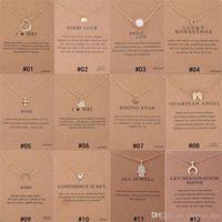 12 أنماط dogeared المختنق القلائد مع بطاقة الذهب دائرة الفيل لؤلؤة الحب أجنحة الصليب مفتاح قلادة قلادة للأزياء النساء المجوهرات