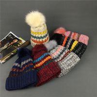 Rainbow Stripe Knit Beanie Hat Moda Doce Cor Borda Laminada Chapéu de Crochê Ao Ar Livre Inverno Quente Elastic Ski Cap TTA1684