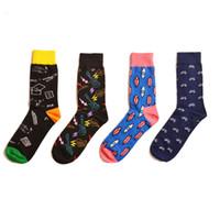 heren sokken gekamd katoen jacquard cartoon geometrische muziek conformeren mannelijke zakelijke jurk crew sokken bruiloft cadeau sox 2pcs = 1 pairs