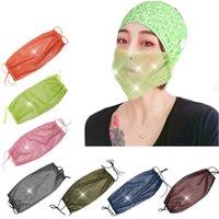 Блестки маска для лица мода Алмазная сетка маски анти пыль многоразовые промытые дизайнерские маски для бара 9styles Party Masks