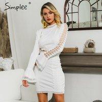 Simplee Elegant women lace bodycon dress White 2 шт. выдалбливают осеннее платье костюм зима sexy party club короткие вечерние платья