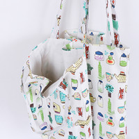 1x Cartoon pattern linen bag tote ECO shopping outdoor canva...
