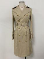 Premium New Style Black Khaki Высочайшее Качество Женщин Требовое пальто Металлические Пряжки Ветряка Классический двубортный пальто с поясом