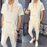 Summer Mens Casual Tracksuits Lettern Pattern Short Sleeve H...