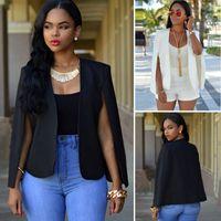 Casual Yaka Bölünmüş Uzun Kollu Blazer Cape Coat OL Takım Elbise Ceket Dış Giyim Womens