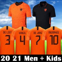 2020 2021 Hollande Maillot de Football 2020 Pays-Bas DE JONG WIJNALDUM STROOTMAN MEMPHIS VIRGIL Maillots de Football Hommes Adulte Enfants Kit Uniformes