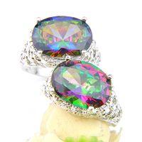 Joyería de la boda del amante de los anillos de la porción 2pcs oval 925 anillos de plata de la joyería de cristal Mystic Topaz de la piedra preciosa de la manera para partido 7-9 Tamaño de EE.UU.