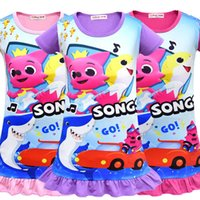 2019 Baby Shark Dresses INS Girls Summer Cartoon Shark Dress Falda de manga corta Pijamas Baby Night Falda Ropa de dormir camisón nuevo