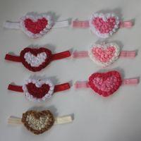 Kız içinde 70pcs 9cm Şifon Rozet Kalp Çiçek Bantlar Saç Aksesuarları, Elastik şifon Kalp Kafa Çiçekler